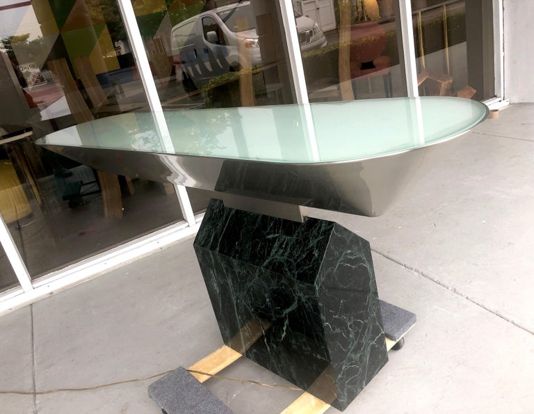 Brueton Console Table Illuminated Stainless Steel and Marble by J. Wade Beam For Sale 3