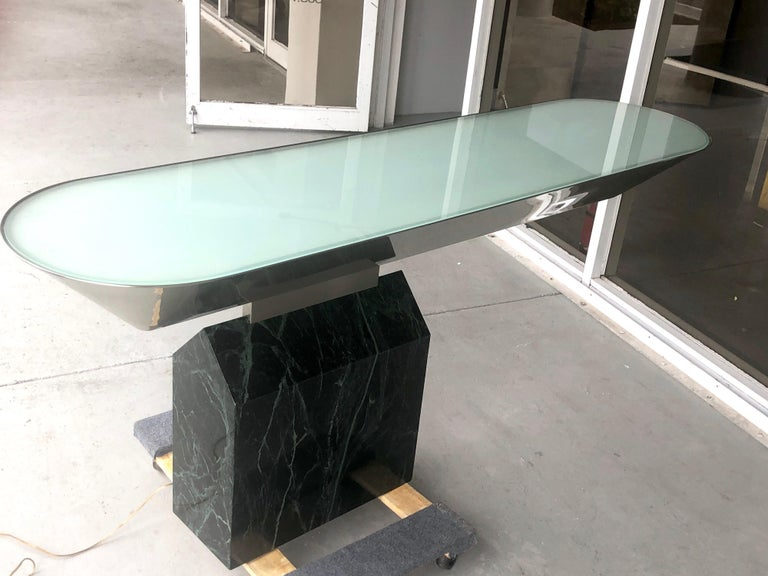 Brueton Console Table Illuminated Stainless Steel and Marble by J. Wade Beam For Sale 4