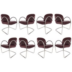 Brueton Leather and Stainless Cantilevered Chairs, Set of 8