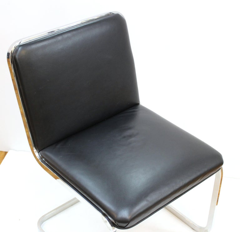 American Brueton Mid-Century Modern Chrome Dining Chairs with Leather Upholstery For Sale