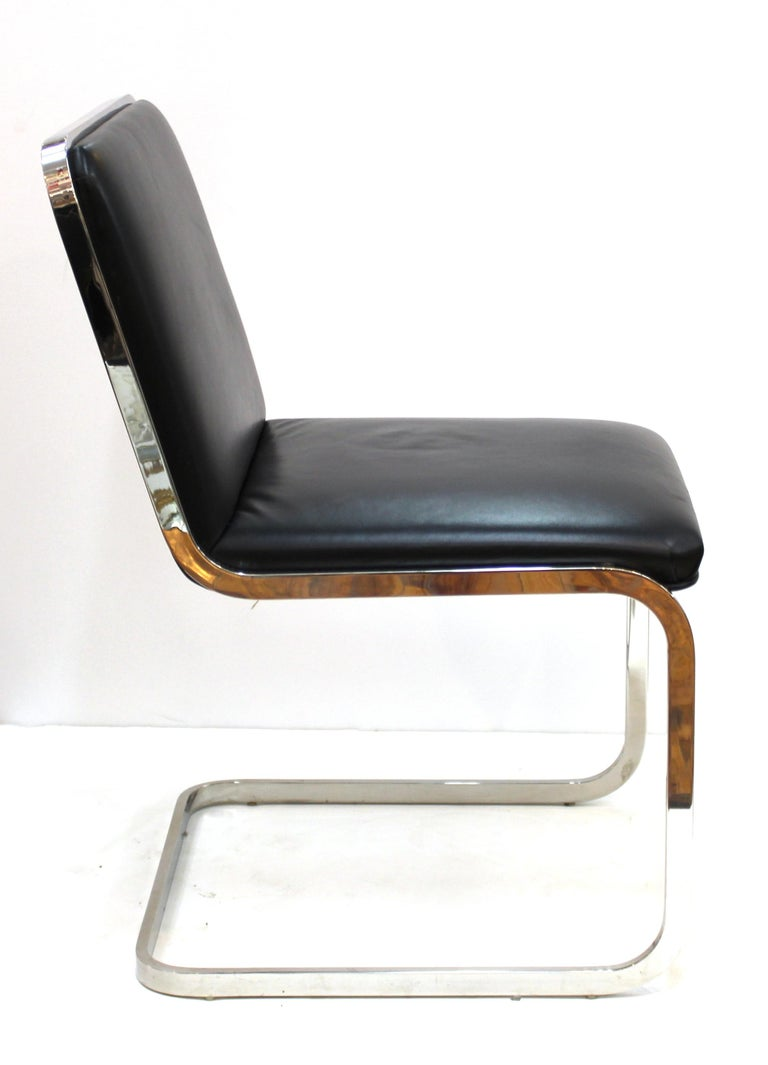 20th Century Brueton Mid-Century Modern Chrome Dining Chairs with Leather Upholstery For Sale