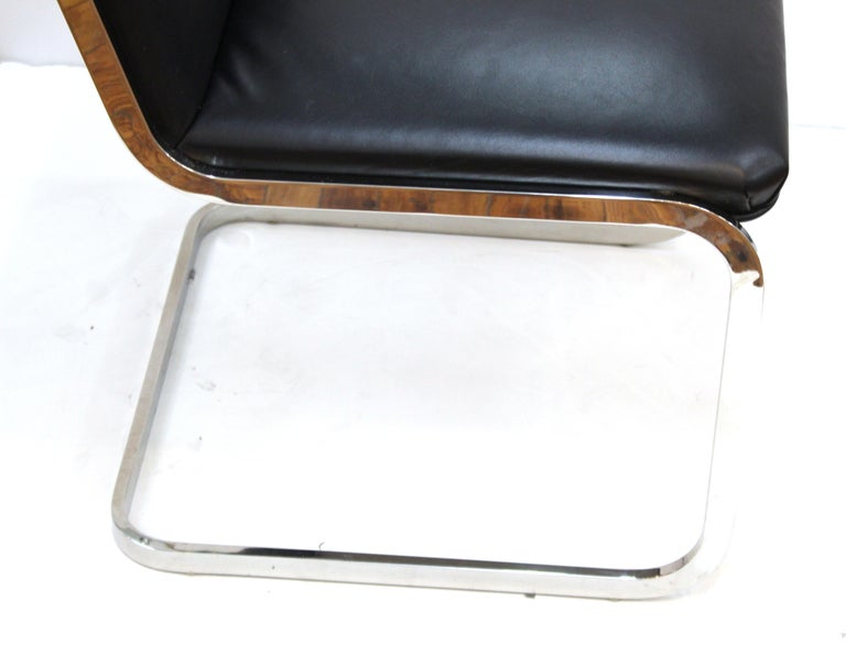 Brueton Mid-Century Modern Chrome Dining Chairs with Leather Upholstery For Sale 1