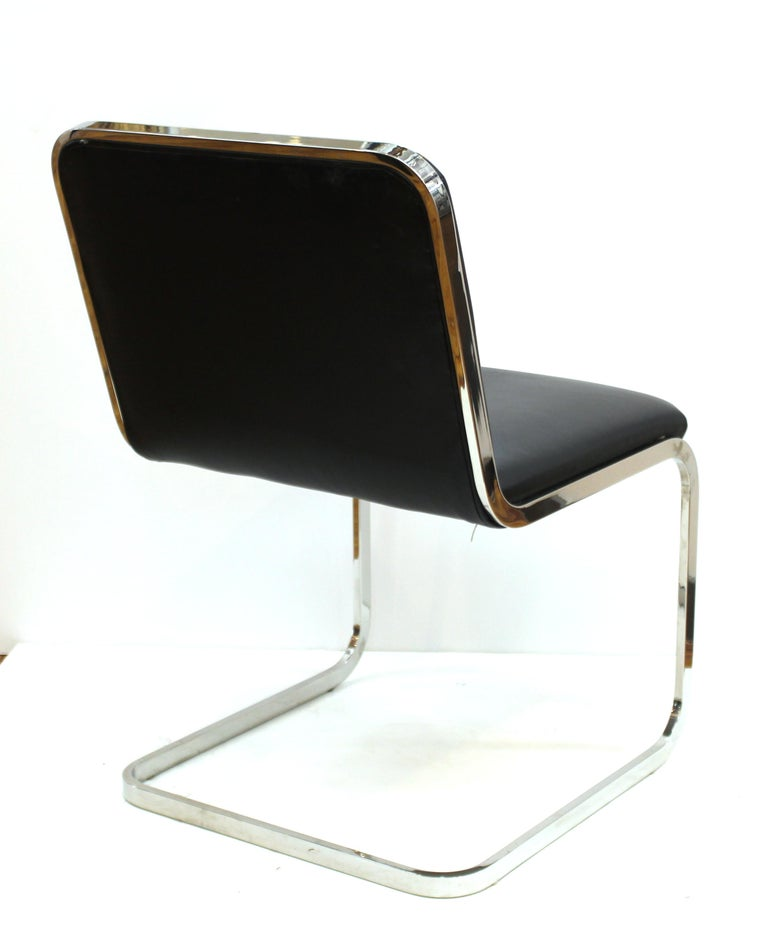 Brueton Mid-Century Modern Chrome Dining Chairs with Leather Upholstery For Sale 3