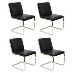 Brueton Mid-Century Modern Chrome Dining Chairs with Leather Upholstery