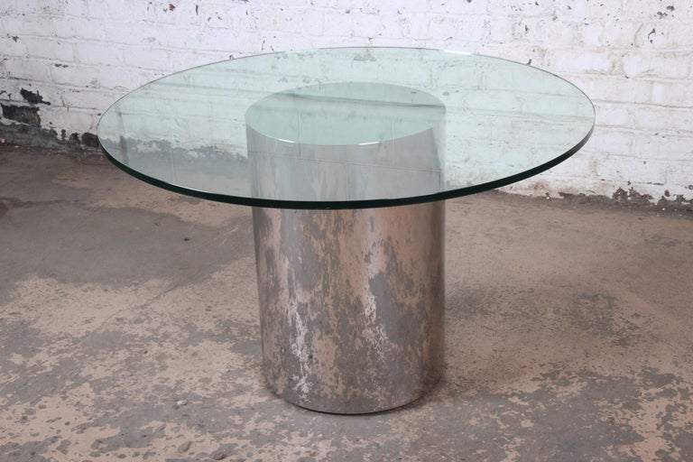 American Brueton Mid-Century Modern Polished Steel and Glass Round Pedestal Dining Table For Sale