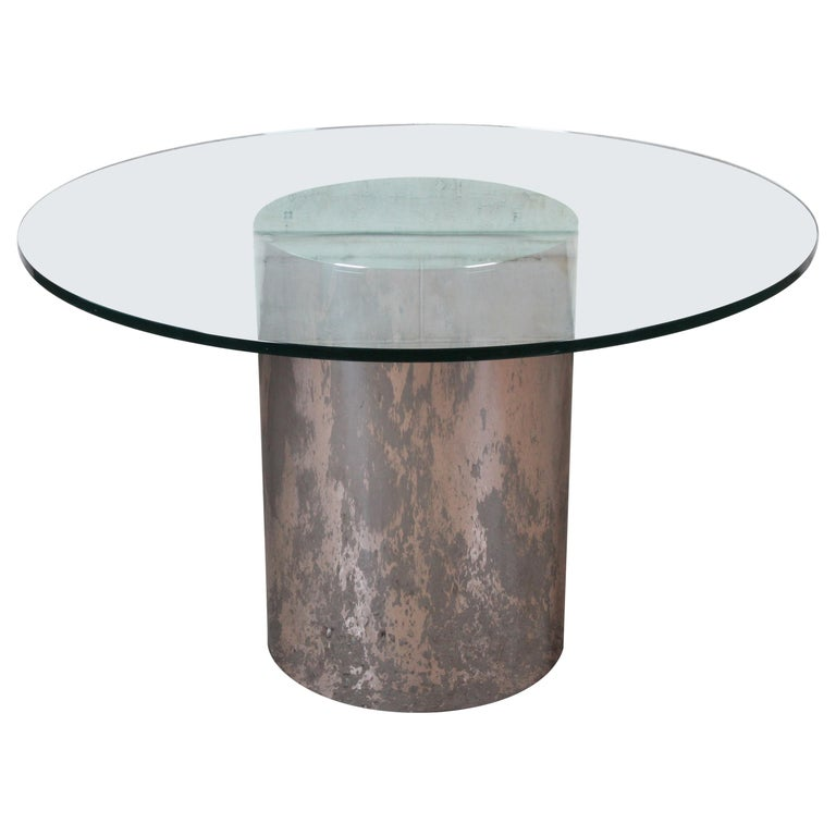 Brueton Mid-Century Modern Polished Steel and Glass Round Pedestal Dining Table For Sale