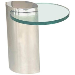 Brueton Mirror Polished Modernist Minimalist Side Drink Table