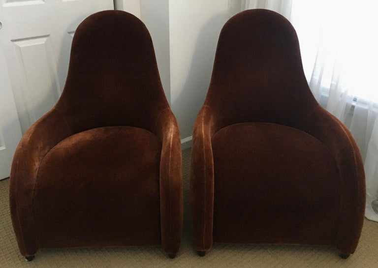 Contemporary Brueton Mohair Sculptural Curved Modern Lounge Chairs, Pair For Sale