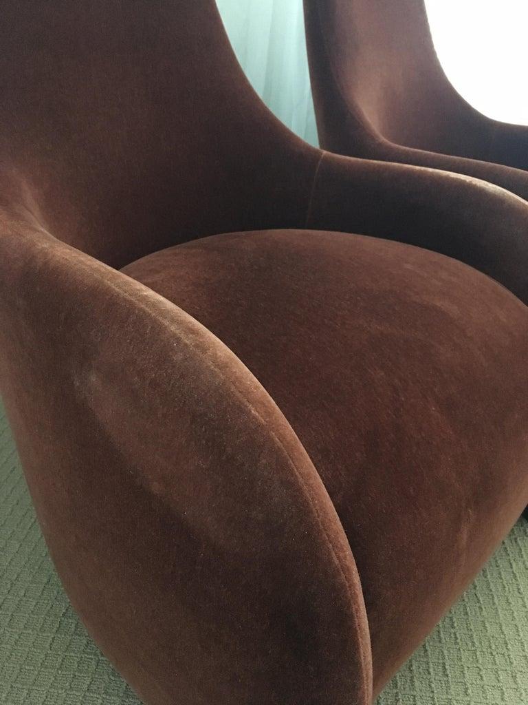 Brueton Mohair Sculptural Curved Modern Lounge Chairs, Pair For Sale 1