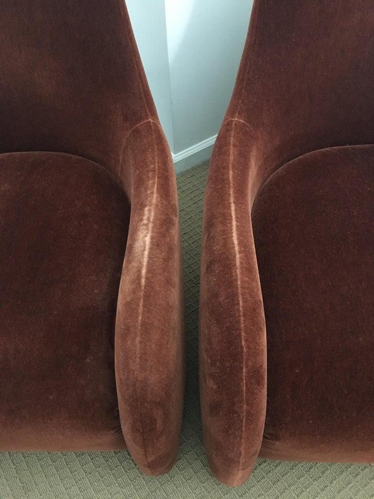 Brueton Mohair Sculptural Curved Modern Lounge Chairs, Pair For Sale 2