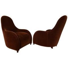 Brueton Mohair Sculptural Curved Modern Lounge Chairs, Pair