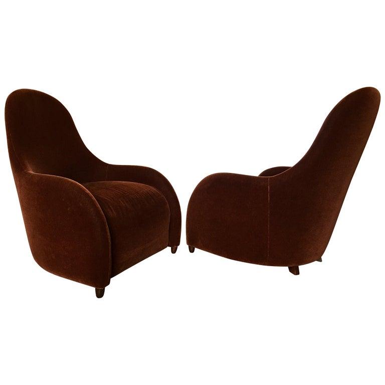 Brueton Mohair Sculptural Curved Modern Lounge Chairs, Pair For Sale