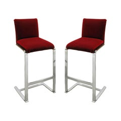 Brueton Pair of Polished Chrome Bar Stools, 1980s