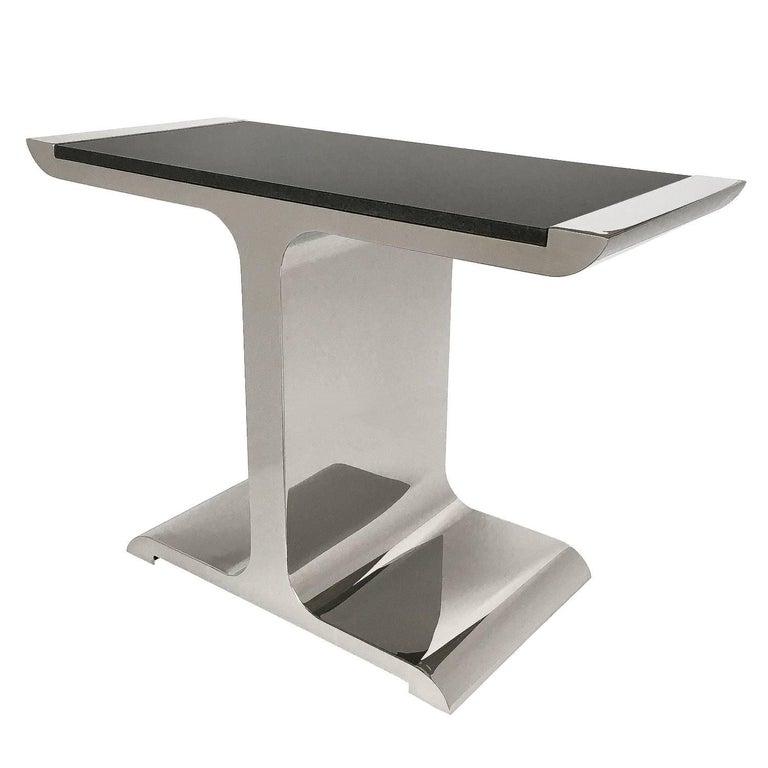 Brueton Polished Steel and Granite Eagle Console Table