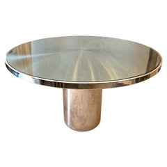 Brueton Round Stainless Steel and Glass Table