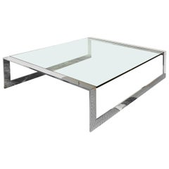 Brueton Stainless Steel and Glass Modernist Square Cocktail Table