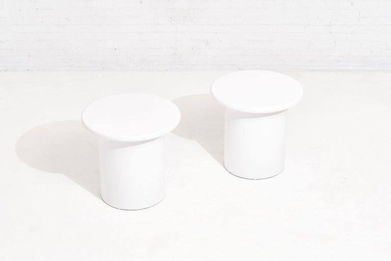 American Brueton White Lacquer End Tables, circa 1970 For Sale