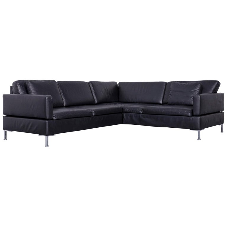 Brühl & Sippold Alba Designer Corner-Sofa Black Leather Couch with Function
