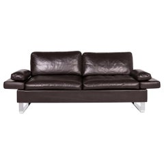 Brühl & Sippold Alba Leather Sofa Brown Dark Brown Two-Seat Couch