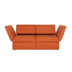 Brühl & Sippold Brühl Clip Fabric Sofa Orange Two-Seat Function Relax