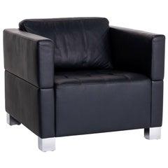 Brühl & Sippold Carrée Leather Armchair Dark Blue