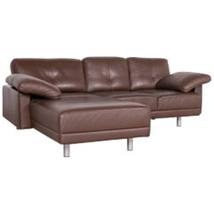 Brühl & Sippold Designer Leather Corner Sofa Brown Genuine Leather Sofa Couch