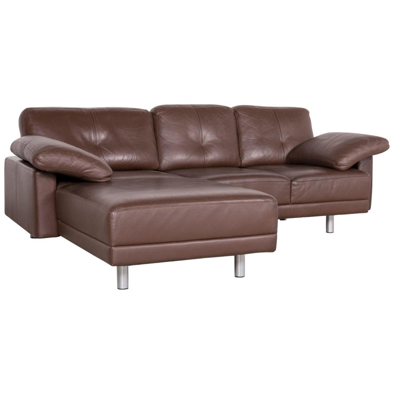 Brühl Sippold Designer Leather Corner Sofa Brown Genuine Couch