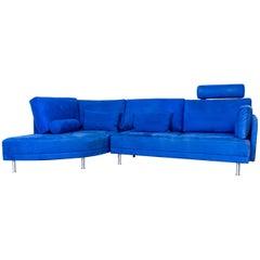 Brühl & Sippold Divanetta Designer Corner-Sofa Blue Fabric