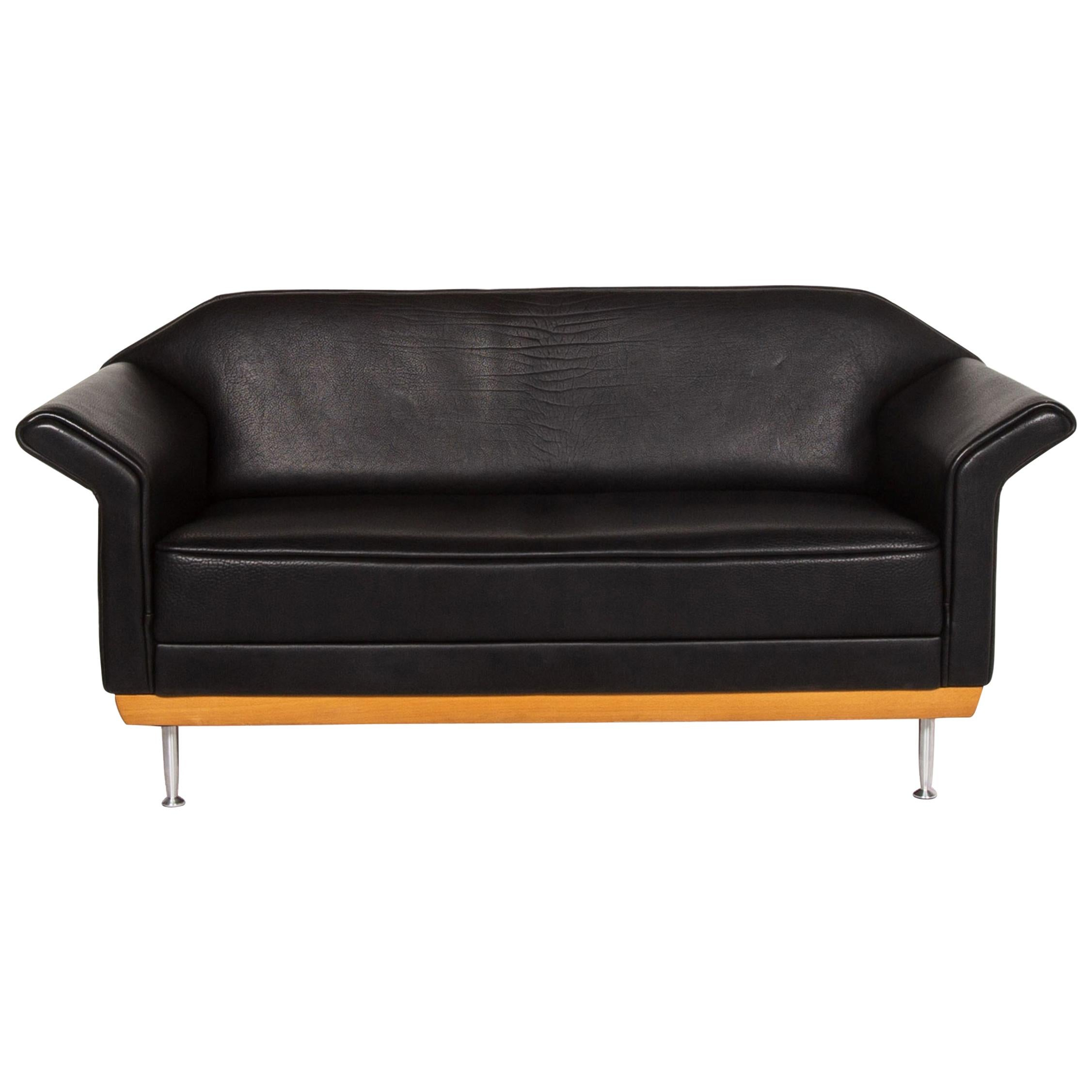 Brühl & Sippold Leather Sofa Black Two-Seat Couch