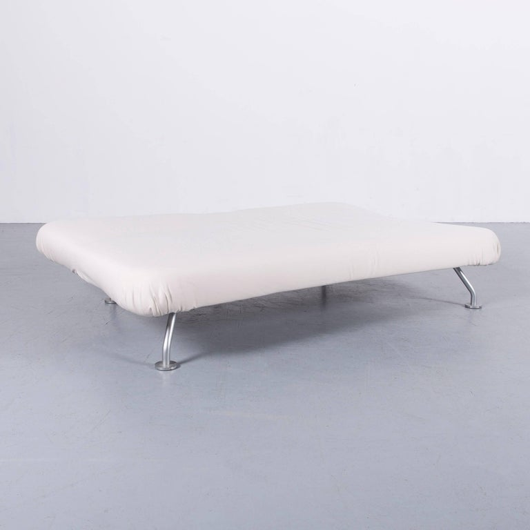 Brühl & Sippold More Bed-Sofa in White Fabric Couch In Excellent Condition In Cologne, DE