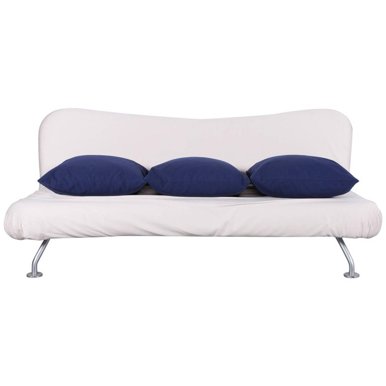 Brühl & Sippold More Bed-Sofa in White Fabric Couch