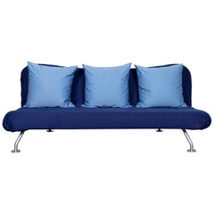 Brühl & Sippold More Designer Fabric Sofa Blue Three-Seat Couch with Function