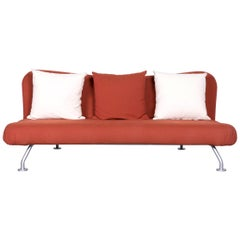 Brühl & Sippold More Designer Fabric Sofa Brown Three-Seat Couch with Function