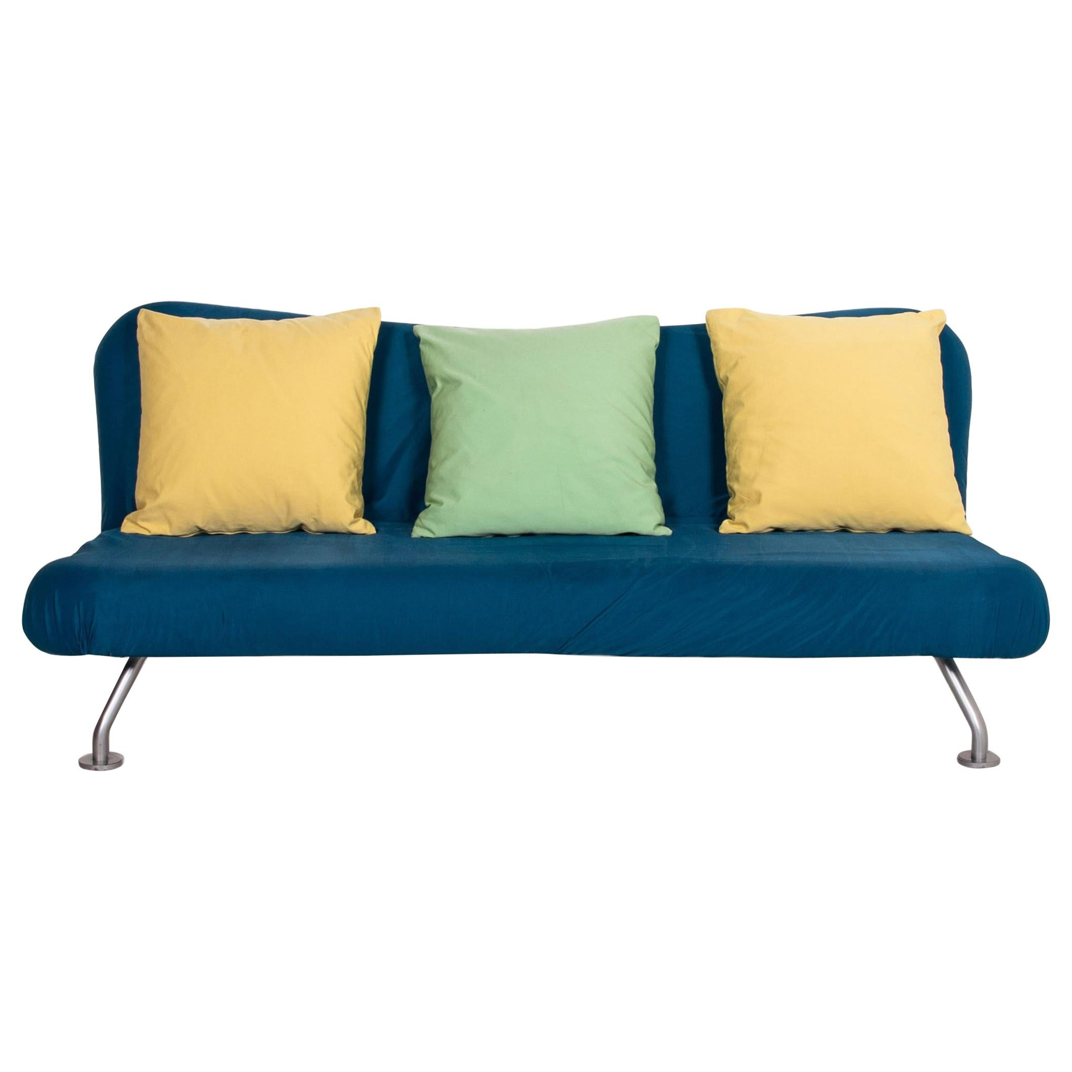 Brühl & Sippold More Sofa Bed Blue Yellow Three-Seat Sofa Function Sleeping