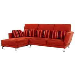 Brühl & Sippold Moule Alcantara Fabric Corner Sofa Red Sofa Function Relax