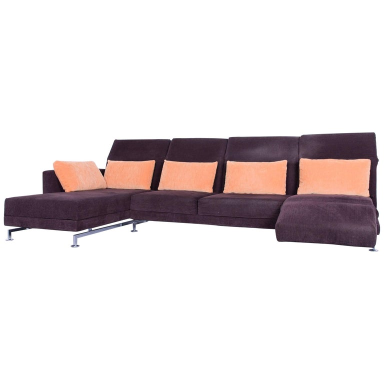 br hl and sippold moule designer corner sofa brown couch fabric at 1stdibs