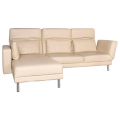 Brühl & Sippold Moule Designer Leather Corner Sofa Beige Real Leather Sofa Couch
