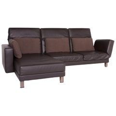 Brühl & Sippold Moule Designer Leather Corner Sofa Brown Genuine Leather Sofa