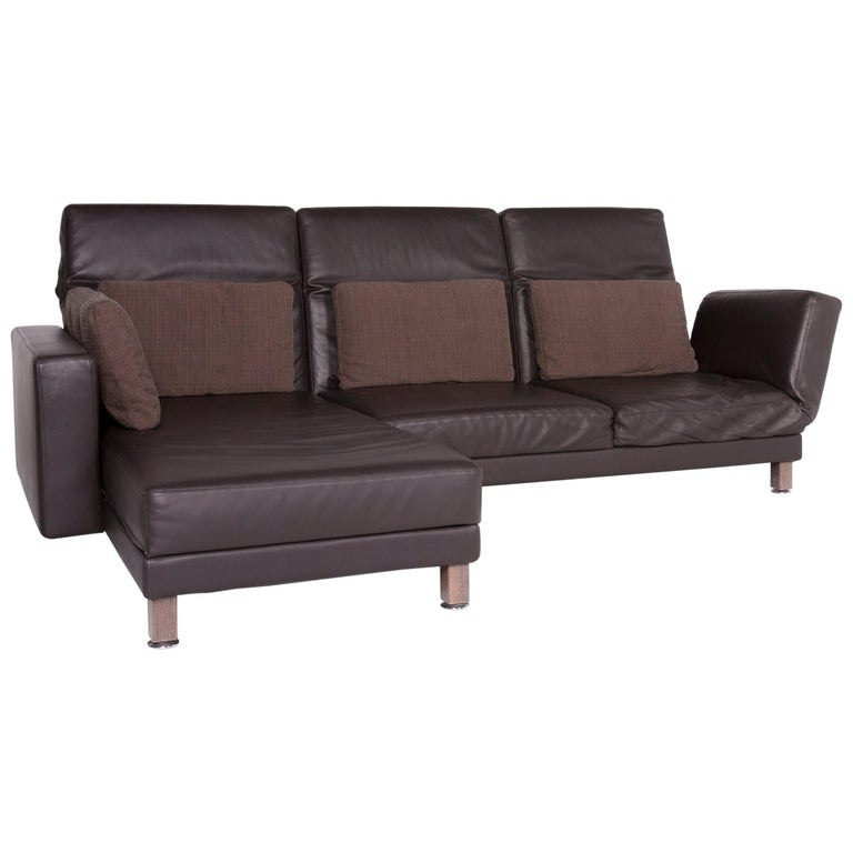 br hl and sippold moule designer leather corner sofa brown genuine leather sofa for sale at 1stdibs