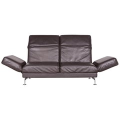 Brühl & Sippold Moule Designer Leather Sofa Brown Two-Seat Couch with Function