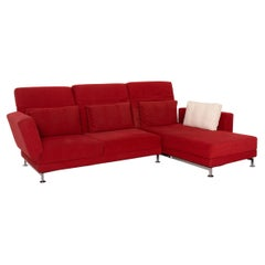 Brühl & Sippold Moule Fabric Corner Sofa Red Function Relax Function Couch