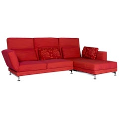 Brühl & Sippold Moule Fabric Corner Sofa Red Sofa Relax Function Function Couch