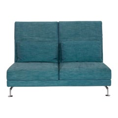 Brühl & Sippold Moule Fabric Sofa Blue Two-Seater Reclining Function Turquoise
