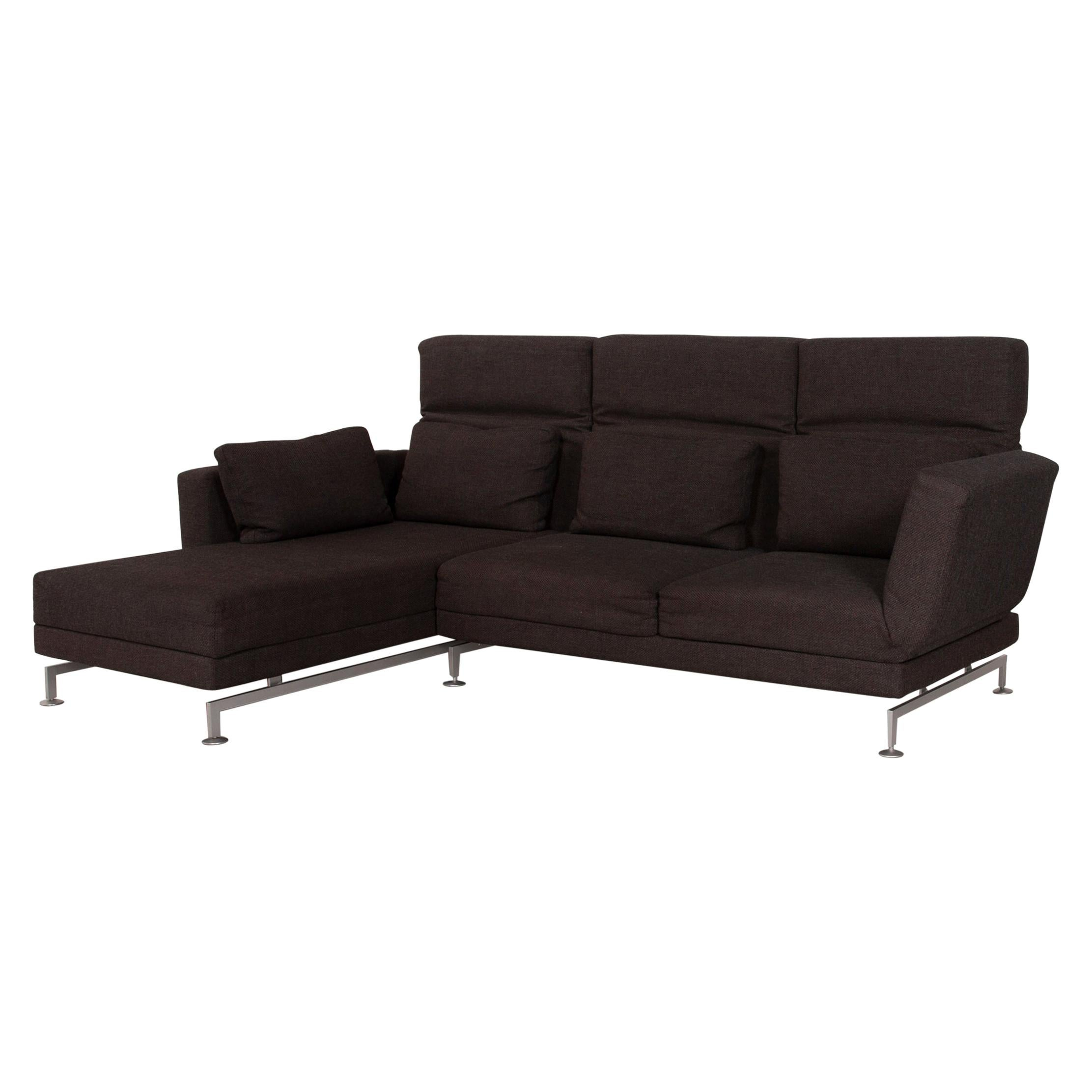 Brühl & Sippold Moule Fabric Sofa Brown Corner Sofa Function Relaxation