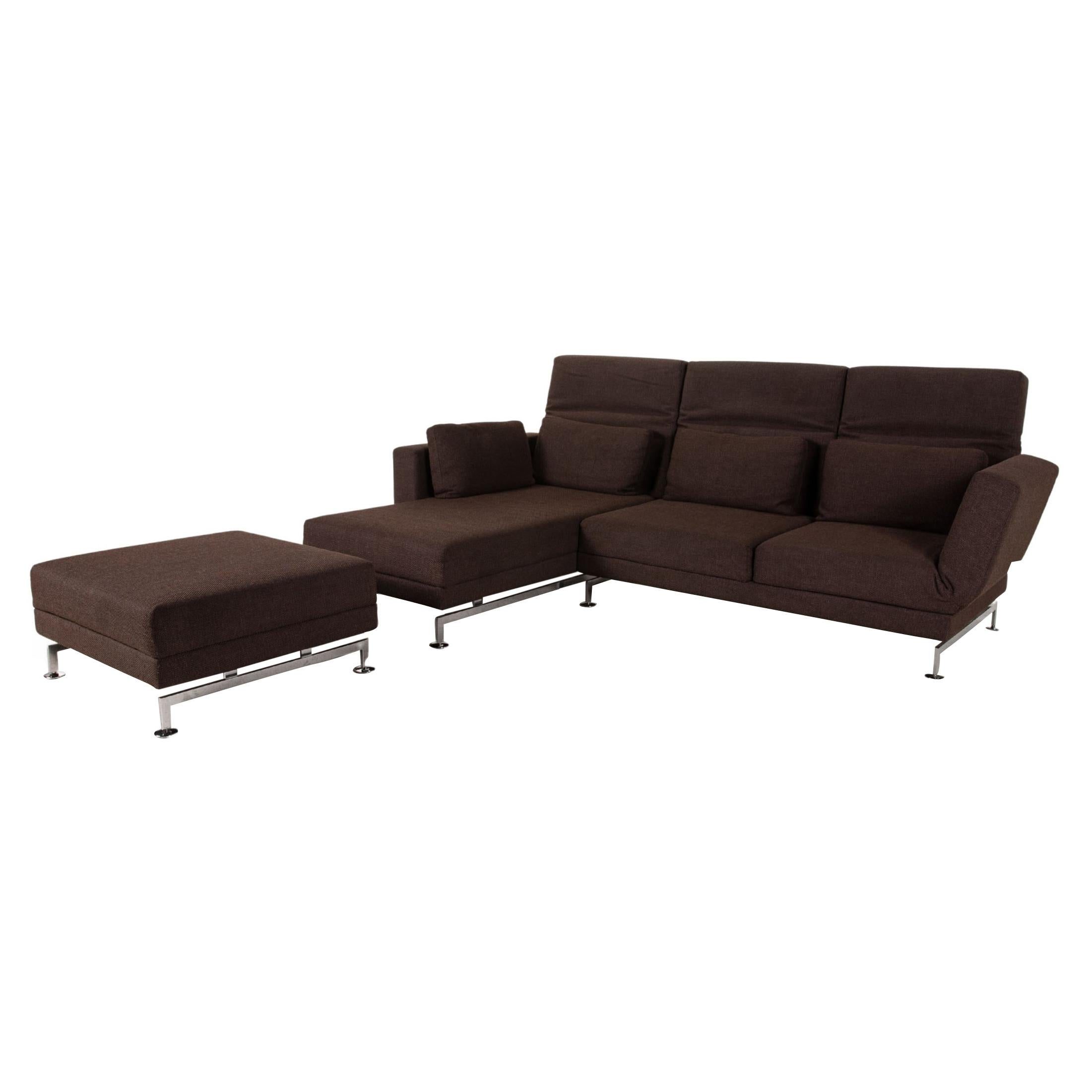 Brühl & Sippold Moule fabric sofa brown corner sofa incl stool function relax
