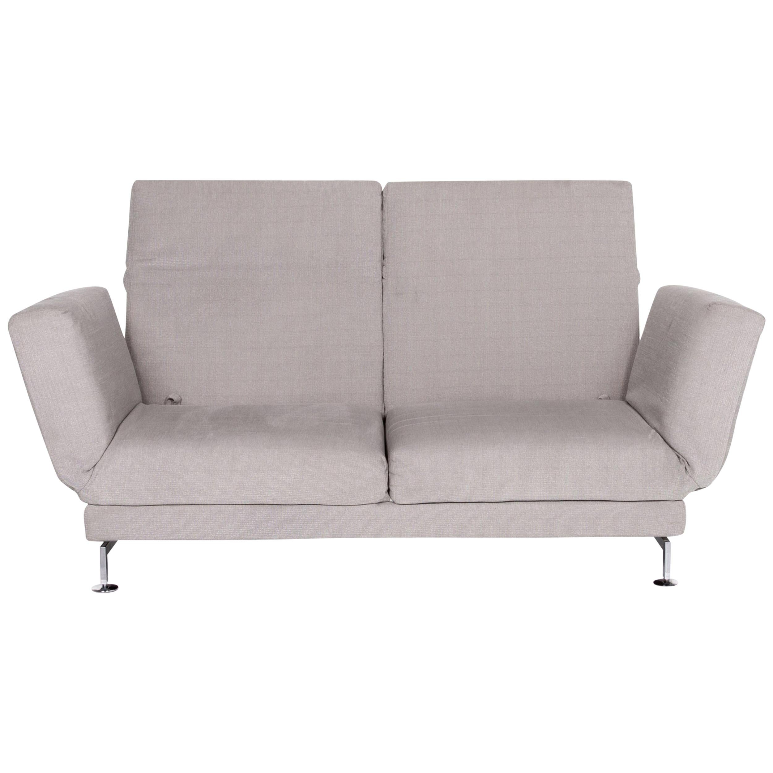 Brühl & Sippold Moule Fabric Sofa Gray Two-Seat Function Relax Function