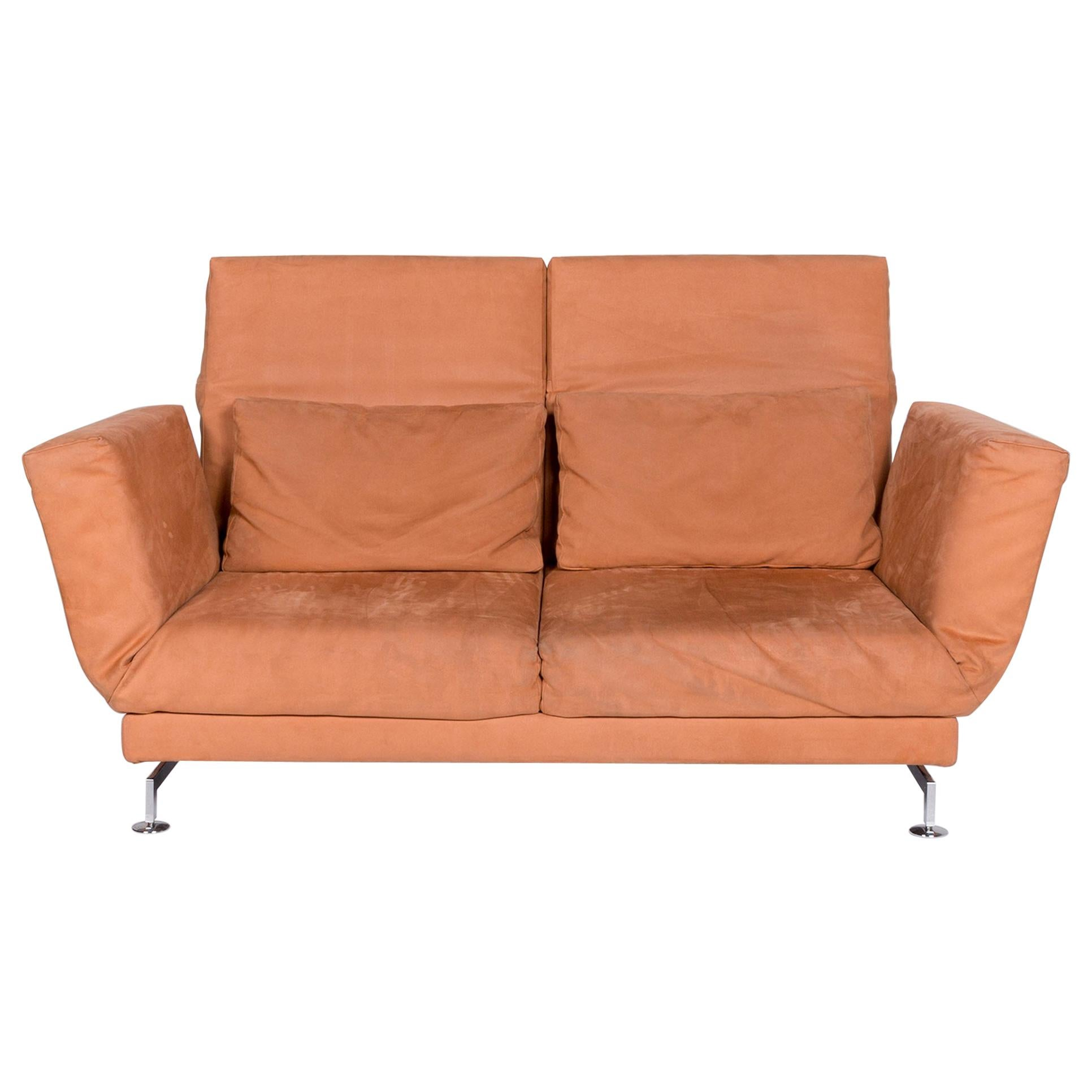 Brühl & Sippold Moule Fabric Sofa Orange Two-Seat Relax Function