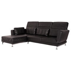 Brühl & Sippold Moule Leather Corner Sofa Black Function Relax Function Couch