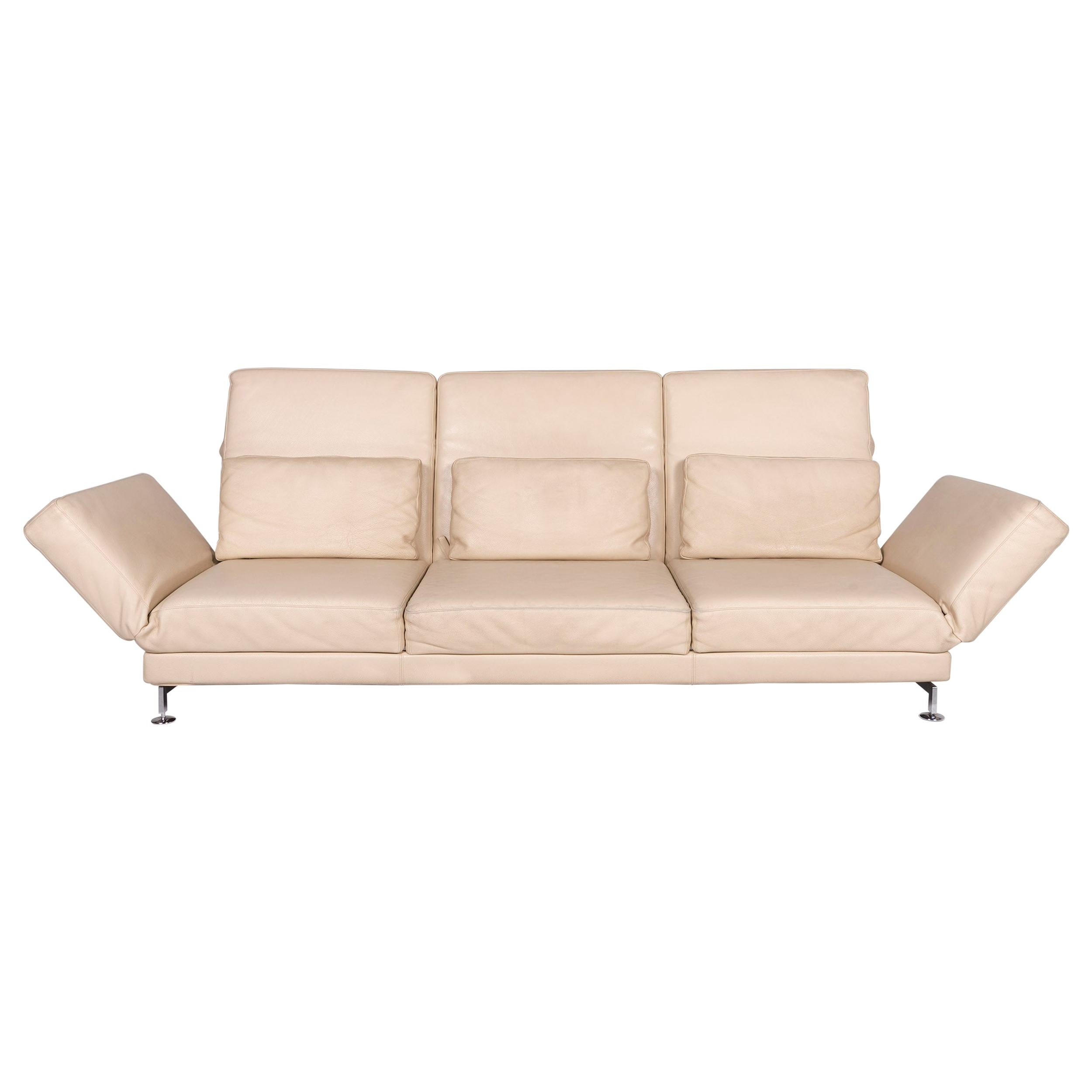 Brühl & Sippold Moule Leather Sofa Beige Three-Seat Relax Function Couch