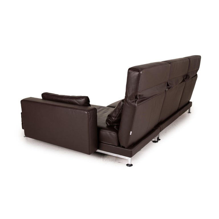 Brühl & Sippold Moule Leather Sofa Black Corner Sofa Couch Function Relax For Sale 4